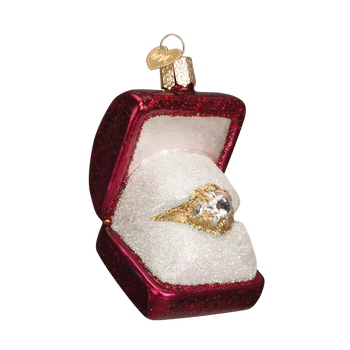 Engagement Ring in Box Glass Ornament