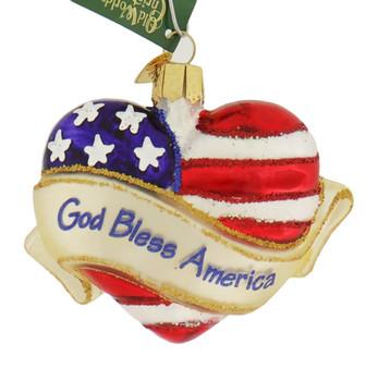 God Bless America Heart Glass Ornament
