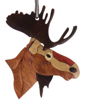 Moose Intarsia Wood Ornament