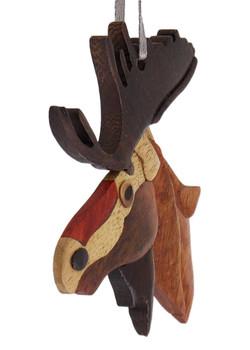 Moose Intarsia Wood Ornament side