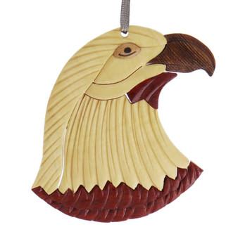 Eagle Intarsia Wood Ornament