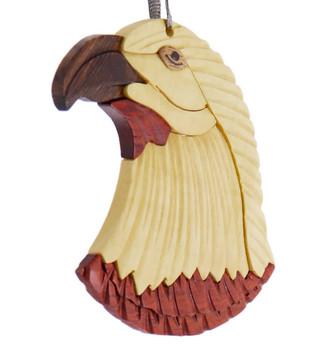 Eagle Intarsia Wood Ornament front side
