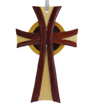 Celtic Cross Intarsia Wood Ornament