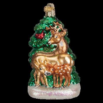 Deer Family Glass Ornament