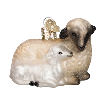 Sheep With Lamb Glass Ornament