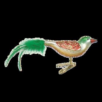 Christmas Bird Clip On Glass Ornament