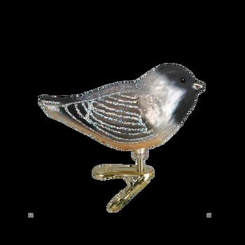 Cheery Chickadee Clip On Bird Glass Ornament