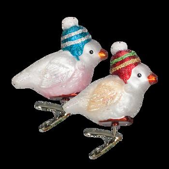 Snowbird Glass Clip On Glass Ornament