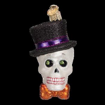 Top Hat Skeleton Halloween Glass Ornament