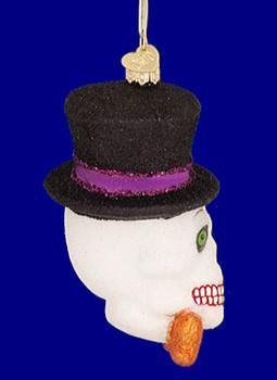 whimsical skeleton Halloween Old World Christmas Glass Ornament 26068 inset