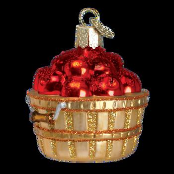 Mini Apple Basket Glass Ornament