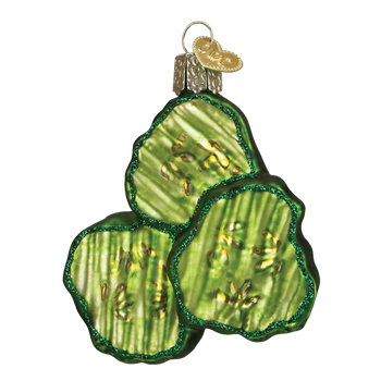 """Pickle Chips Glass Ornament, 3 1/8"""", OWC #28105"""