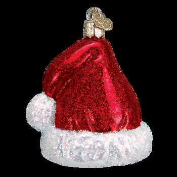 Santa's Hat Glass Ornament