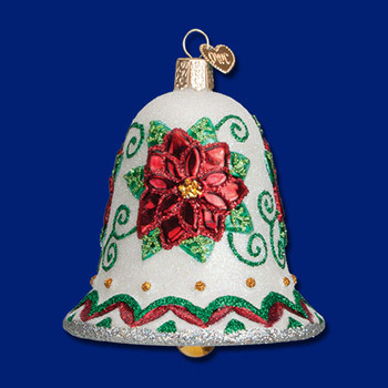 poinsettia bell Old World Christmas Glass Ornament 38041