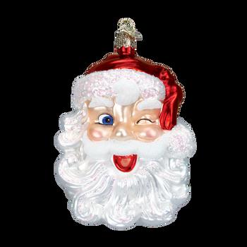 Winking Santa Glass Ornament
