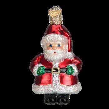 Short Stuff Santa Glass Ornament