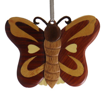Butterfly Intarsia Wood Ornament