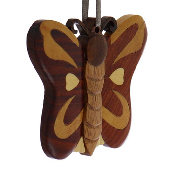 Butterfly Intarsia Wood Ornament side