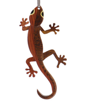Gecko Intarsia Wood Ornament