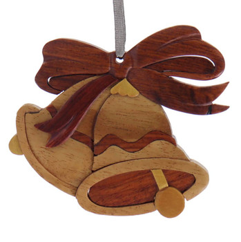 Holiday Bells Intarsia Wood Ornament