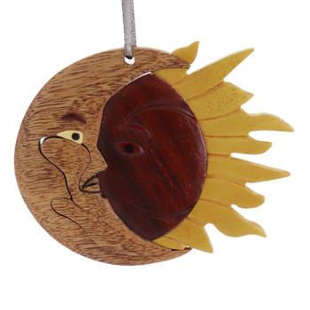 Eclipse Moon Sun Intarsia Wood Ornament