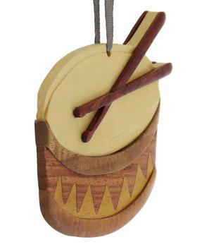 Drum Intarsia Wood Ornament side