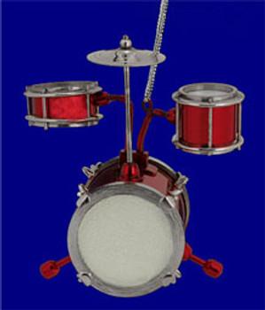 """Mini Jr Drum Set Ornament - 3"""" - Shiny Red #BG6573"""