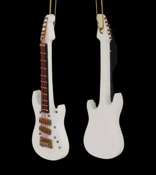 Mini Electric Guitar Ornament - Wood front back