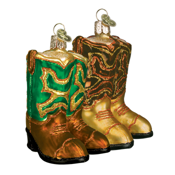 Cowboy Boots Western Glass Ornament