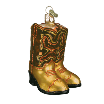 Cowboy Boots Western Glass Ornament brown