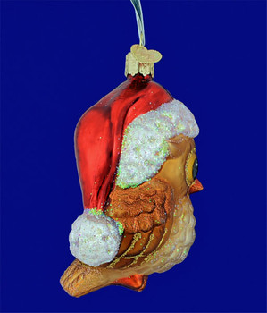 Santa Hat Owl Glass Ornament by Old World Christmas 16098 side