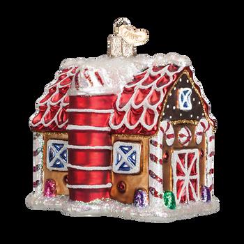 Gingerbread Barn Glass Ornament