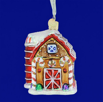 Gingerbread House Barn Glass Ornament by Old World Christmas 20070 front