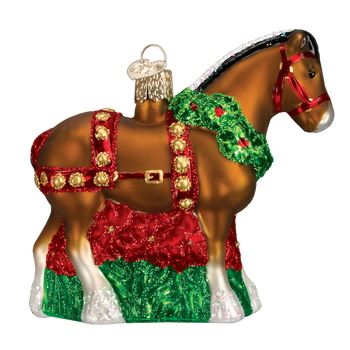 Holiday Clydesdale Glass Ornament