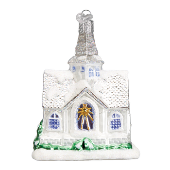 Sparkling Cathedral Church Glass Ornament side