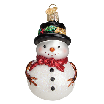 Holly Hat Snowman Glass Ornament Red inset 1