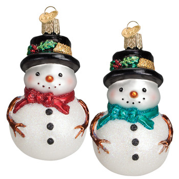 Holly Hat Snowman Glass Ornament