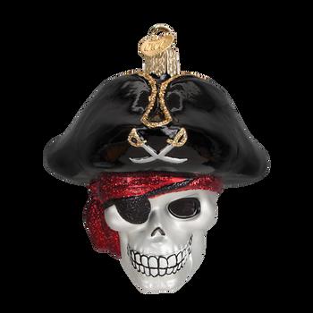 Jolly Roger Skull Pirate Glass Ornament