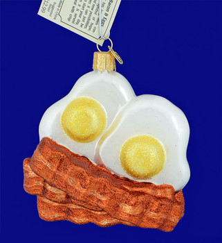 Bacon Eggs Glass Ornament Old World Christmas 32210 front