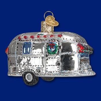 vintage camper trailer Old World Christmas Glass Ornament 46053