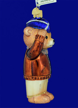 Bear Air Force Old World Christmas Glass Ornament 12401 inset
