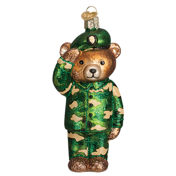 Bear Army Glass Ornament