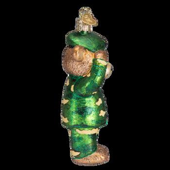 Bear Army Glass Ornament Side