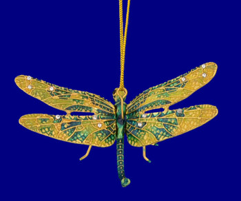 """Cloisonne Articulated Dragonfly Ornament, Gift - Green, Yellow, 3"""" wingspan, #KU7453"""