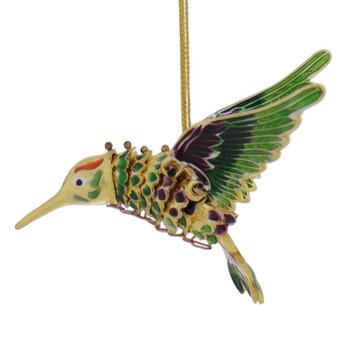 Cloisonne Hummingbird Ornament left side