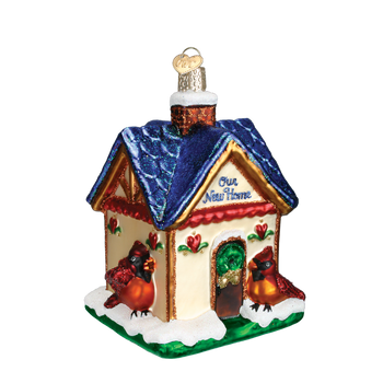 Birdhouse Our New Home Glass Ornament