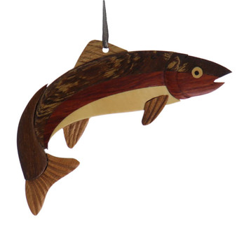Fish Trout Intarsia Wood Ornament