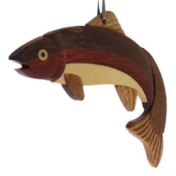 Fish Trout Intarsia Wood Ornament side
