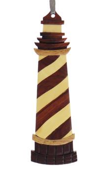 Lighthouse Intarsia Wood Ornament