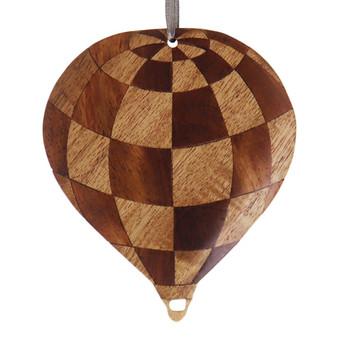 Hot Air Balloon Intarsia Wood Ornament